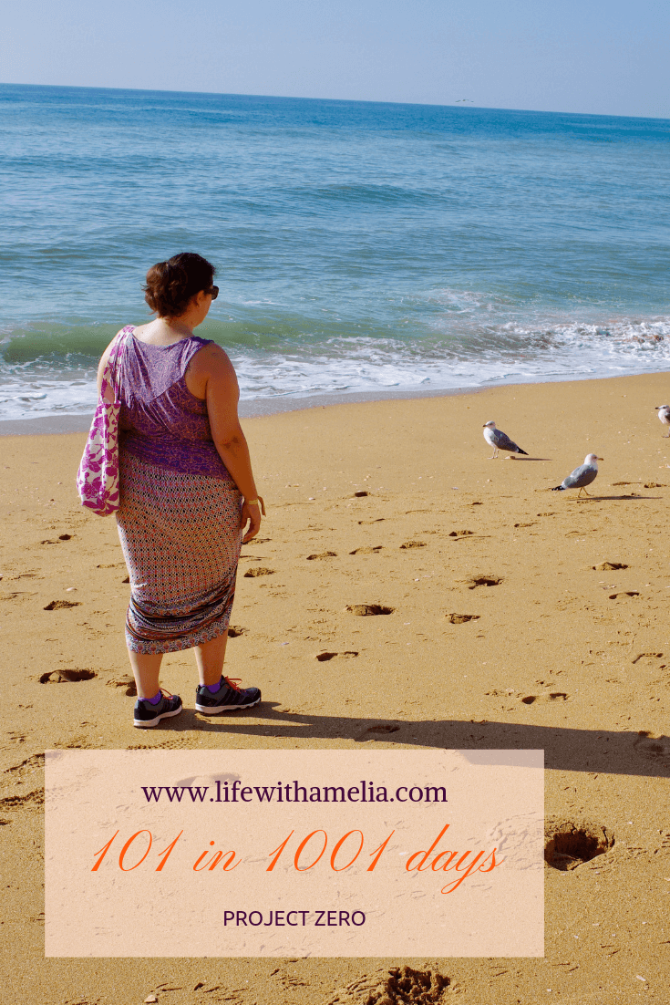 lady walking along yellow sand beach holding up her skirt up wearing a short sleeved top walking towards seagulls